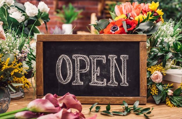 Open sign of flower shop