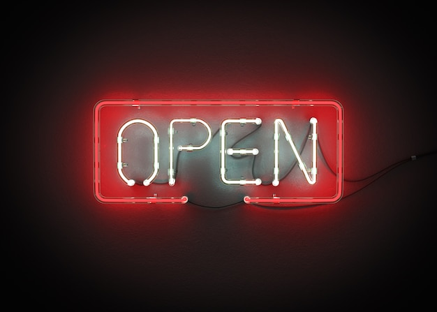 Open sign neon on wall 3d rendering