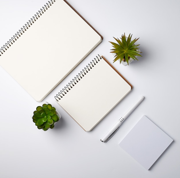 Open spiral notebook with empty sheets and pots with green indoor plants