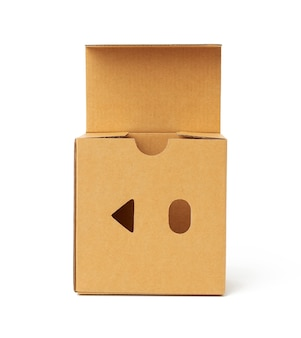 Open square brown cardboard box isolated on white background, top view