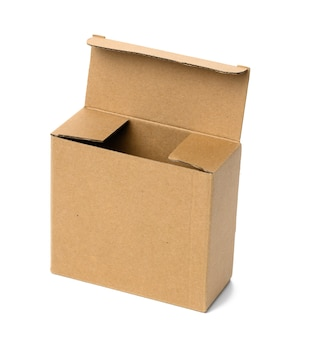Open square brown corrugated cardboard box isolated on white surface. eco-friendly packaging of goods