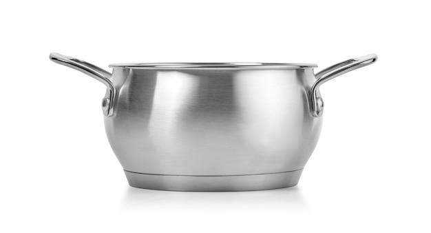 クリッピングパスで白い背景の上にステンレス鋼の調理鍋を開きます
