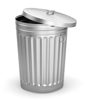 Открытый стальной мусорный бак, изолированные на белом фоне. 3d иллюстрации