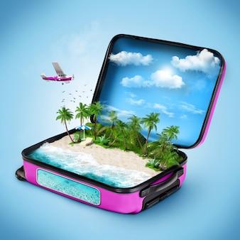 中に熱帯の島があるオープンスーツケース