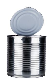 白い背景で隔離の缶を開きます。