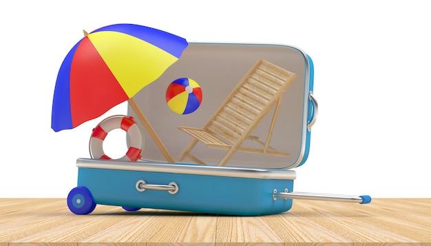 Открытый дорожный чемодан с шезлонгом и пляжным зонтиком