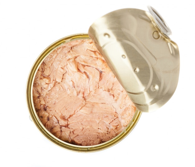 Open tuna can seen from above