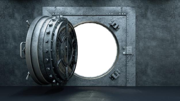 Open vault door in bank