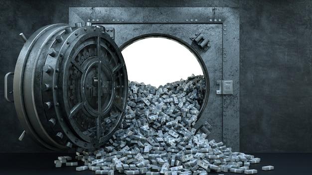 Откройте дверь хранилища в банке с большим количеством денег