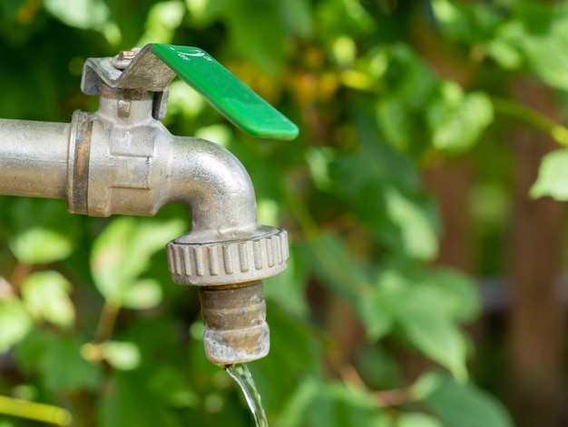 Open water faucet or tap with flowing water in blur garden