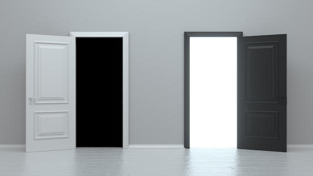 白い壁に分離された白と黒の入り口の現実的なドアを開く