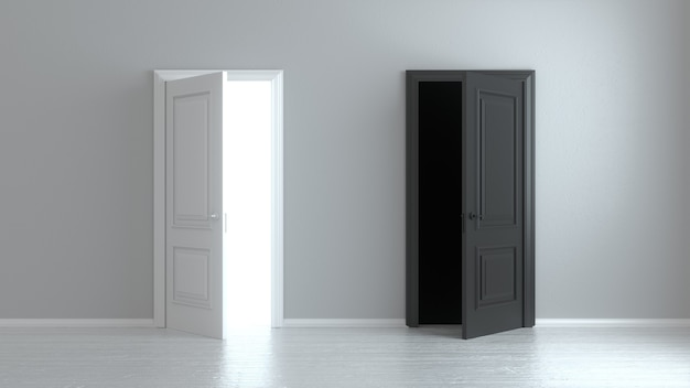 Open white and black entrance realistic door isolated on white wall