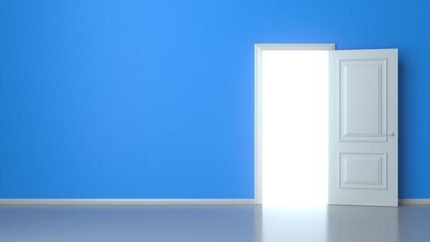 Open white door on blue wall, reflective floor