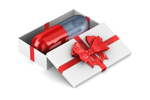 Open white gift box with capsule on white