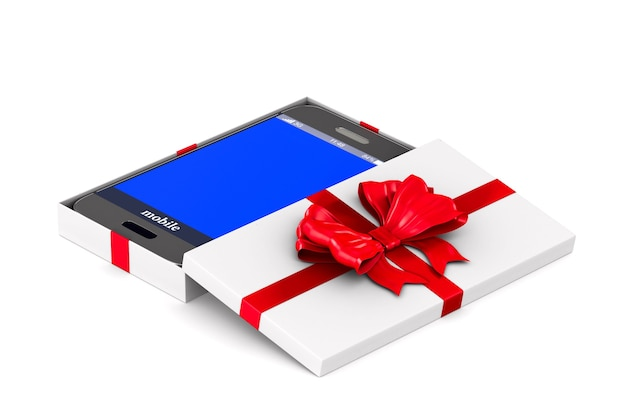 Open white gift box with phone on white space