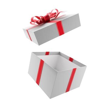 Откройте белую подарочную коробку с красным бантом и лентами. 3d визуализация.