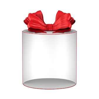 Open white gift box with red bow on white background. isolated 3d illustration