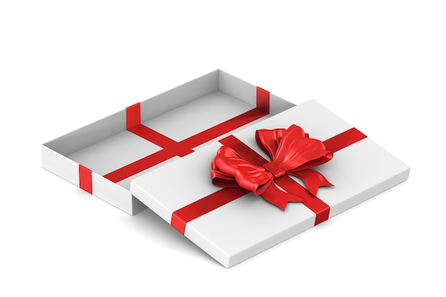 Open white gift box with red bow on white space