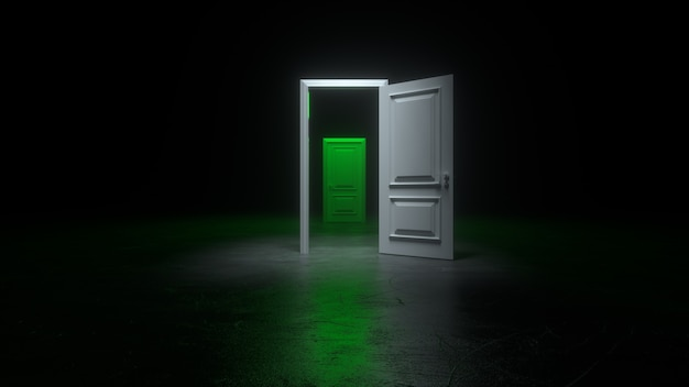 An open white and green door to a dark room with bright light