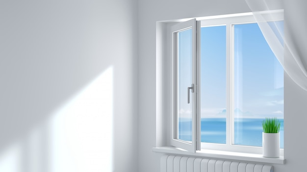 The open white modern plastic window in the room .
