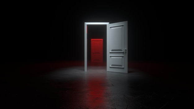 An open white and red door to a dark room with bright light
