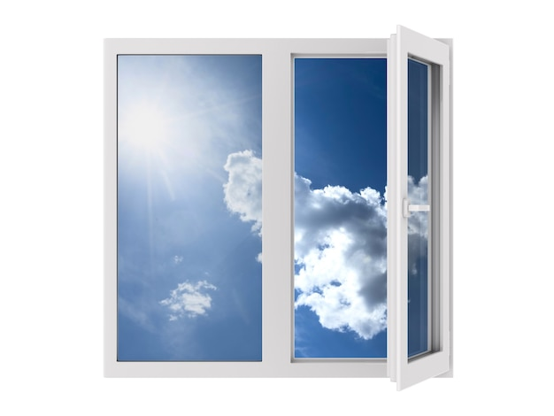 Open window on white background. isolated 3d illustration
