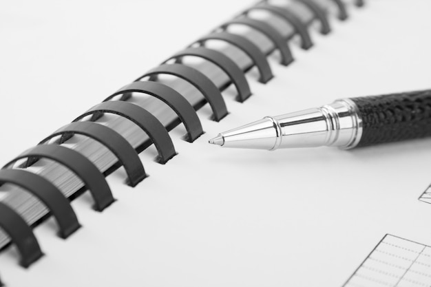 筆記本と黒ペンを開きます。クローズアップビュー
