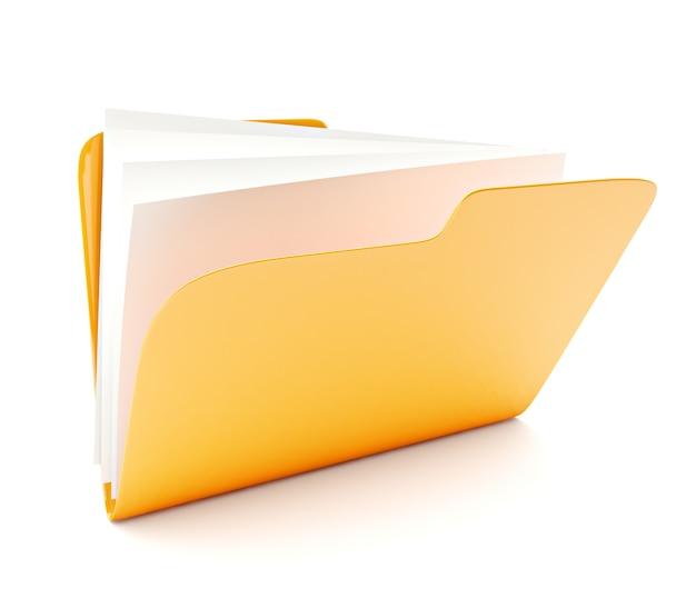 白で隔離黄色のフォルダー3dアイコンを開く