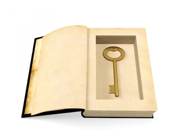 Opened ancient paper book with retro golden key hidden inside, secrecy concept