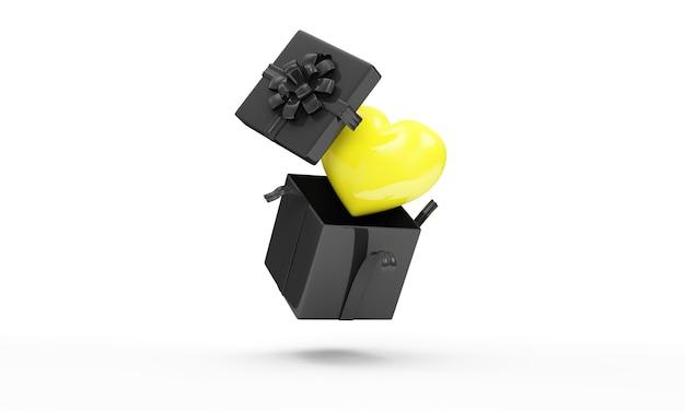 Открытая черная подарочная коробка с желтым сердцем внутри на белом