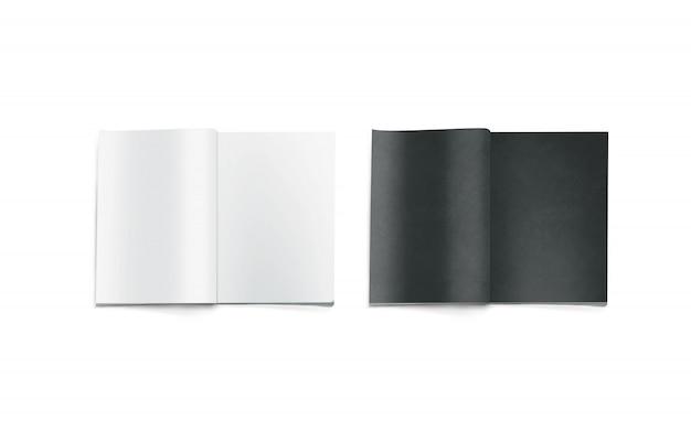 Opened black and white blank magazines