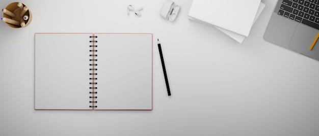 Открытый пустой блокнот и принадлежности на столе 3d-рендеринг 3d-иллюстрация