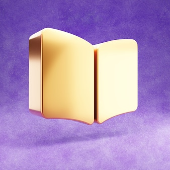 紫色のベルベットで隔離の開いた本のアイコン
