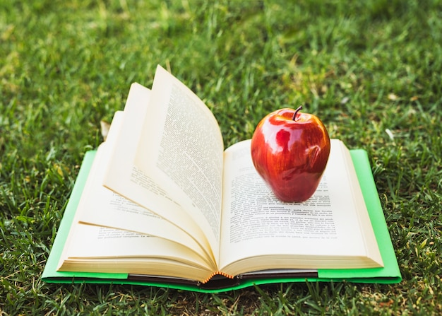 Opened book with apple on top on green lawn