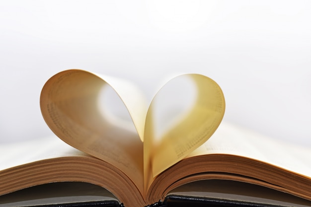 Opened book with heart form sheets.