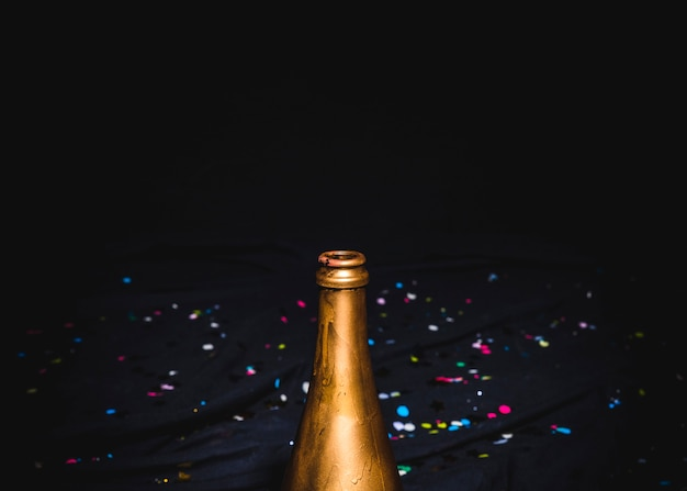 Opened bottle of champagne at party