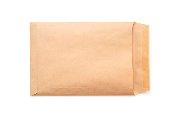 Opened brown paper envelope, a4 envelope isolated on white, top view