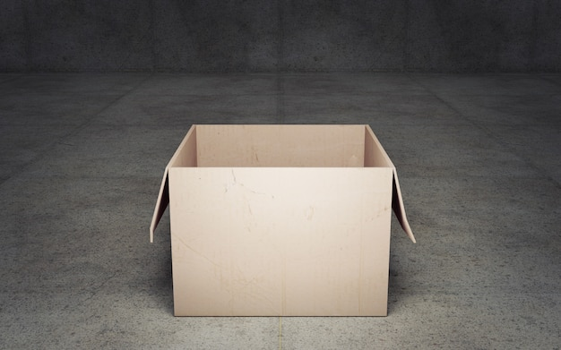 Opened cardboard box on dark background