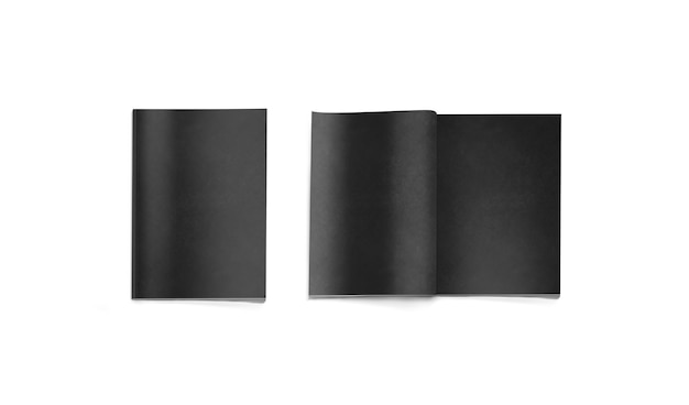 Opened and closed blank black magazine isolated, 3d rendering.