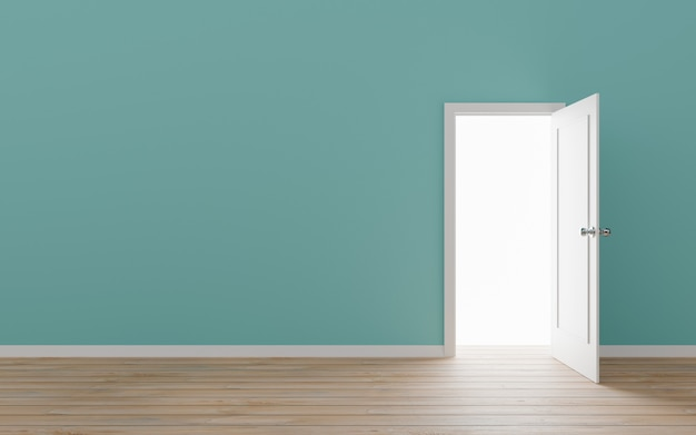 Opened door with blue wall 3d illustration