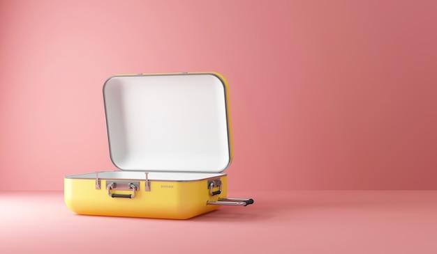 Открытый пустой желтый чемодан путешествия на фоне розовой студии