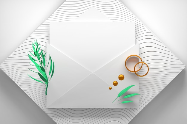 Opened envelope with blank invitation card and two gold engagement rings on striped podium