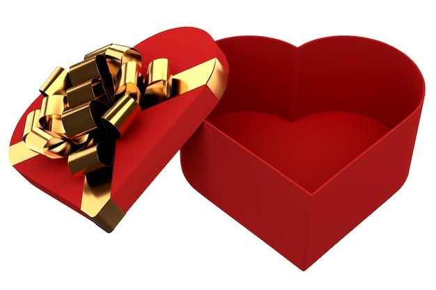 황금 리본과 활이 있는 열린 선물 상자