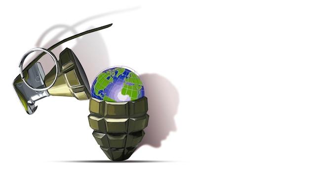 글로브와 함께 수류탄을 열었습니다. 리츠맨의 실루엣 형태의 그림자. 전쟁의 위협. 안보와 평화. 3d 그림입니다. 디자인 컨셉. 3d 이미지. 격리 된 배경입니다.