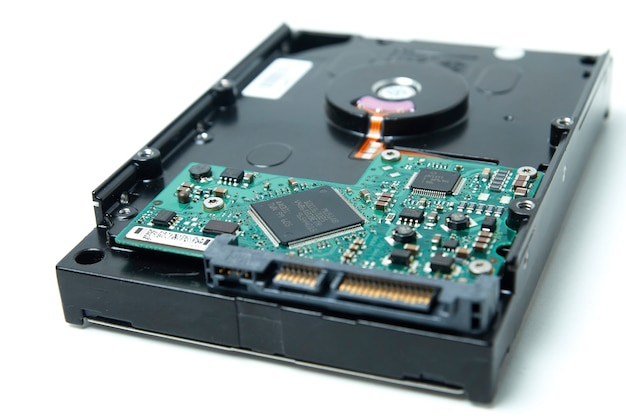 Opened hard drive from the computer hdd disk drive with mirror effects disassembled hard drive from the computer