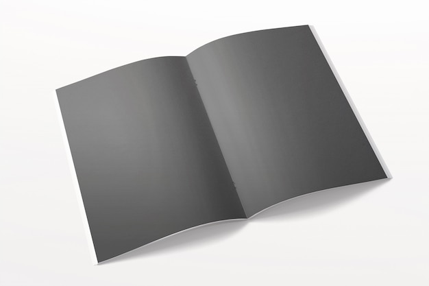 Opened magazine or brochure isolated on white. black blank pages.