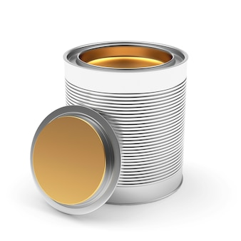 Opened metal can of gold paint