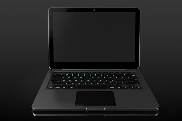 검정색 배경에 현대 노트북을 열었습니다.
