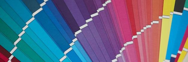 Открытая многоцветная полукруглая палитра образцов под необычным углом зрения