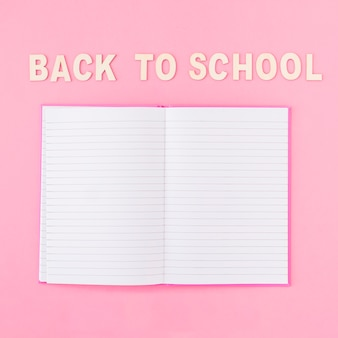 Opened notebook near back to school writing
